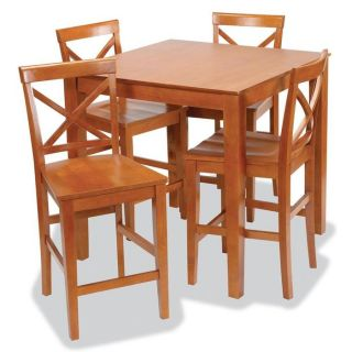 Stakmore Metro Style Pub Table and Chairs Set Harvest