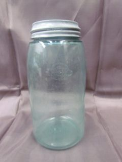 Antique Masons Blue Glass Quart Fruit Canning Jar Patent Nov 30th