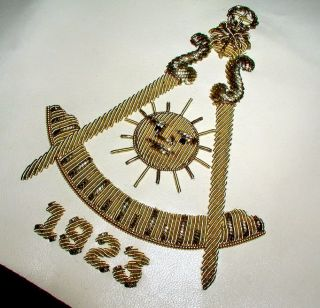 Purple Gold Symbols Old Masonic Past Masters Apron Historic 1923