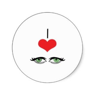Heart (Love) Green Eyes Round Stickers