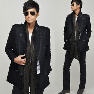 2011 Men Style Slim Fit D Breasted Trench Coat Jacket