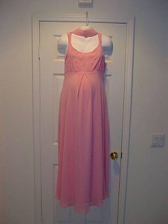 New Long Pink Maternity Dress XL Round Beads Evening