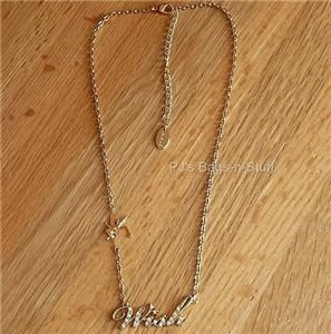 Disney Couture Crystal Wish Gold Necklace Tinkerbell Tink