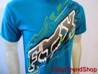 Fox Racing Co Logo Tee Shirt s s Mens Size Large Blue