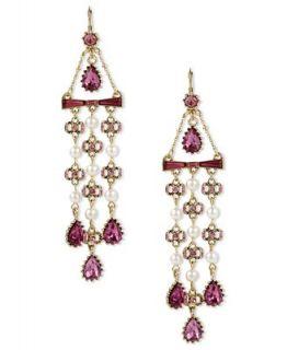 Betsey Johnson Earrings, Gold tone Fuchsia Crystal Bow and Teardrop