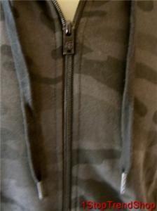 Fox Racing Co Slim Fit Zip Front Fleece Hoodie Mens Black Camo Large