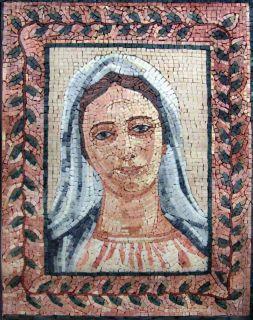 Virgin Mary Marble Mosaic Art Tile Stone Mural