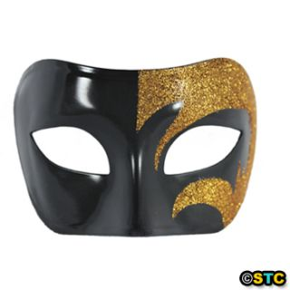 Mystic Gold Glitter Black Venetian Masquerade Mask Mardi Gras Wedding