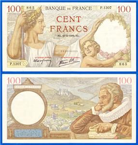 1939 France 100 Francs Bank Note France with Child WWII P 94