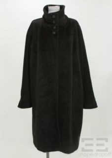 Max Mara Black Angora Wool Button Front Coat Size US 10