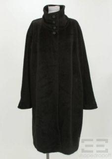 Max Mara Black Angora Wool Button Front Coat Size US 10