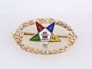 Antique Deco Womens Masonic Eastern Star Yellow Gold Pin Brooch