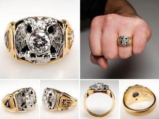 Mens Masonic Double Eagle Diamond Ring Solid 14k Two Tone Gold Estate