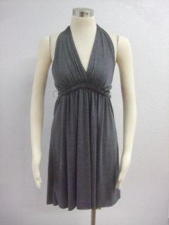 Matty M  Gray Halter Belted Empire Waist Super Soft Dress Sz