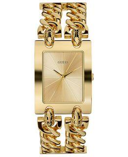 GUESS Watch, Womens Gold Tone Double Link Bracelet 37x29mm U12648L1