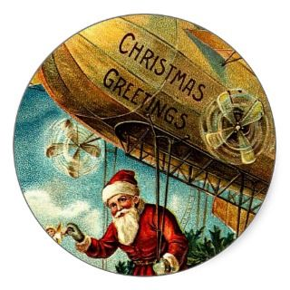 Blimp Santa   Vintage Merry Christmas Stickers