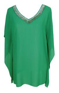 Sheer Emerald Green Beaded Kaftan Blouse Size 8 New