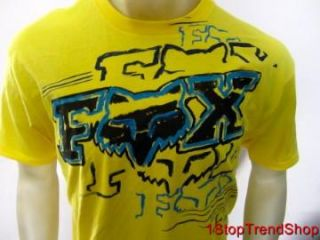 Fox Racing Co Mens Logo Short Sleeve Yellow Tee Shirt Size Medium