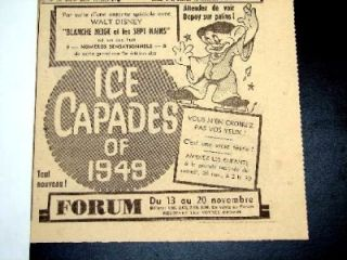 1947 McColl Frontenac 1949 Disney Snow White Ice Capades Red Indian Ad