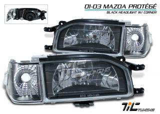 1988 1989 Mazda 323 2 4 Dr Black Head Lights Clear Lense Corner Lamp