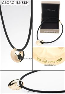 Georg Jensen Gold Pendant 1374 Möbius with Rubber Cord