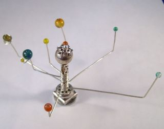 Miniature Medieval Movable Orrery OOAK Dollhouse Mini Handmade Silver