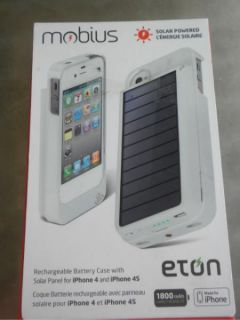 Eton Mobius iPhone 4 4S Solar Panel Rechargeable Battery Case Charger