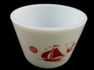 McKee Red Sailboats Small Milk Glass Mixing Bowl 4 5