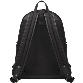 MCM Backpack Night Train Black Logo Jacquard Black Bookbag 12ss New