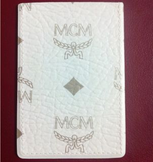 MCM Credit Card Case Holder White Visetos Leather Wallet Purse New