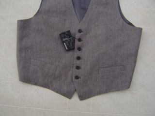 Murano 100% European Linen XL Mens Vest Dress Shirt Suit Coat Gray