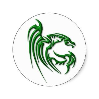 Metallic Dark Green Dragon Round Stickers
