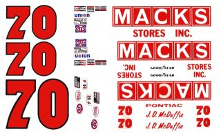 70 JD McDuffie Macks Stores 1 64th HO Scale Slot Car Waterslide Decals