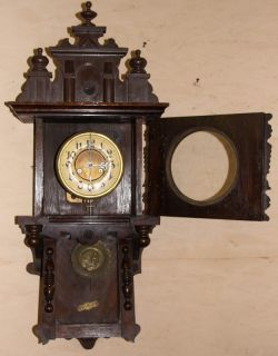 L163 Antique Adler Berlin Style German Wall Clock Ornate Walnut Case