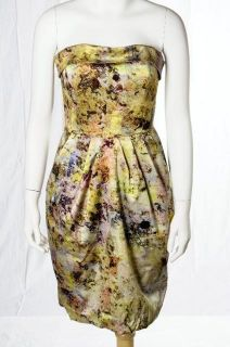 Anthropologie Mcginn NWT Green Watercolor Print Summer Strapless Dress