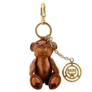 MCM Teddy Bear Cognac Visetos Key Chain Holder Ring Hand Made New