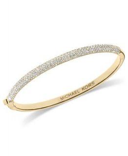 Michael Kors Bracelet, Gold Tone Glass Pave Hinge Bangle Bracelet