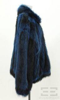 Mary McFadden Blue Fox Fur Zip Front Coat