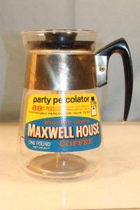 Maxwell House Party Percolator Glass Advertising Ad Coffee Pot
