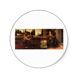 The Annunciation by Leonardo Da Vinci c. 1472 1475 Round Sticker