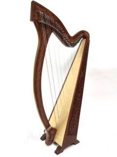 New 51 Full Levers Meghan Irish Celtic Floor Harp Knotwork Design