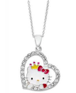 Hello Kitty Necklace, Sterling Silver Crystal Princess Kitty Pendant
