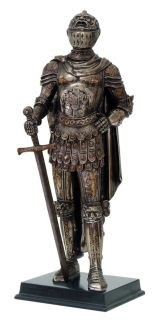 Large 12 Medieval Knight Statue Figurine Caped General Commander Suit