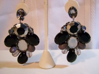 Designer Adia Kibur Rhinestone Fashion Costume Clip Dangle Earrings