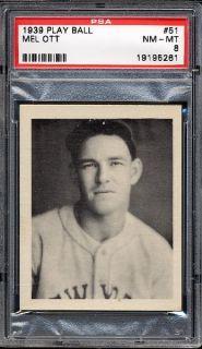 1939 Play Ball 51 Mel Ott PSA 8 NM MT
