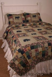 Moose Bear Medley Lodge Cabin in Woods Rustic Queen Quilt