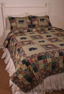 Moose Bear Medley Lodge Cabin in Woods Rustic Queen Quilt