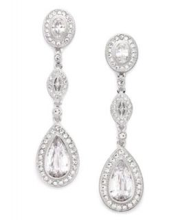 Eliot Danori Earrings, Silver tone Pear and Marquise Cubic Zirconia