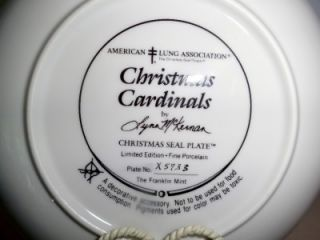 Franklin Mint Christmas Cardinals Limited Edition Collector Plate COA