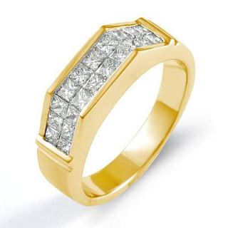 40ct Princess Diamond Mens Wedding Bridal Ring 14k Gold Yellow F